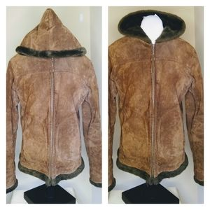 Genuine Leather/Suede Hooded Coat/Jacket